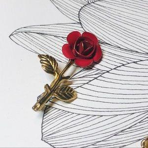 Vintage Red & Gold Tone Rose Brooch EUC